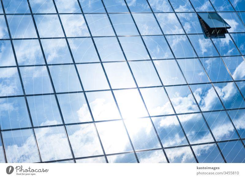 Moderne Fassade aus Glas und Stahl. Hintergrund Himmel Cloud Wolkenkratzer abstrakt Wirtschaft Architektur Grundbesitz blau wirtschaftlich Büro Konstruktion