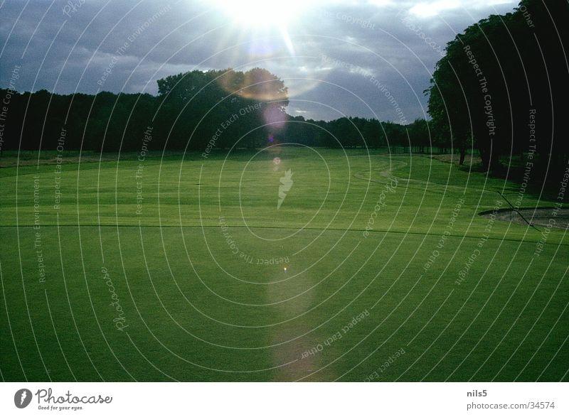 Golfplatz grün schlechtes Wetter Spielen Platz dezent Landschaft Idylle Schönes Wetter Wolken