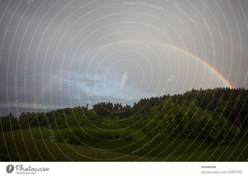 Regenbogen Ferien & Urlaub & Reisen Ausflug Natur Landschaft Pflanze Urelemente Luft Wasser Himmel Wolken Sommer Wetter Feld Wald Hügel leuchten rund schön