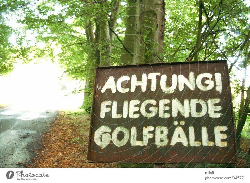 Fliegende Golfbälle Sport Wald Ball gefährlich bedrohlich außergewöhnlich Hinweisschild Respekt Vorsicht