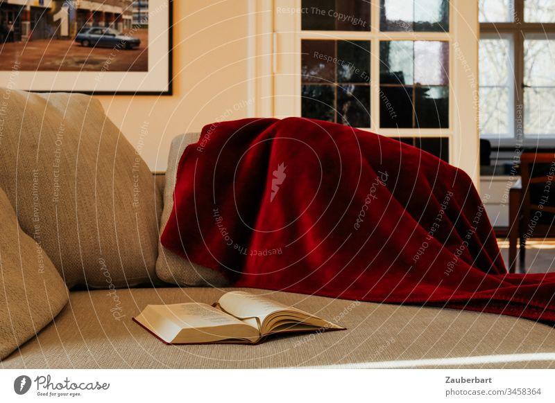 Gemütliches Sofa mit Decke und Buch zuhause vor Tür mit weißen Sprossen im Wohnzimmer stayhome Couch Kissen rot beige Polster lesen gemütlich Innenaufnahme