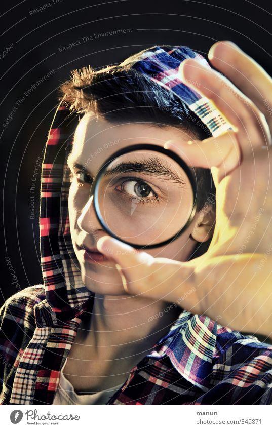 Voll der Durchblick! Mensch Kind Jugendliche Hand Erwachsene Gesicht Junger Mann Leben 18-30 Jahre Junge Denken Schule maskulin Erfolg 13-18 Jahre lernen