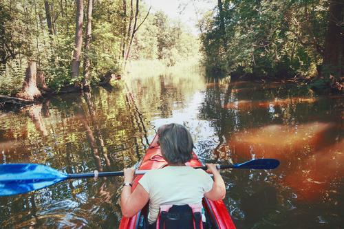 Sie rudert zurück Frau sport sportlich Freizeit & Hobby Rudern paddeln Kajak Kanu Kanutour Ferien & Urlaub & Reisen Wasser Natur Wassersport Ausflug Sommer