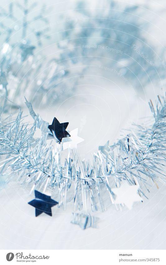 Weihnachtsdeko Dekoration & Verzierung Feste & Feiern Weihnachten & Advent festlich Weihnachtsdekoration Stern (Symbol) glänzend hell blau silber weiß Farbfoto
