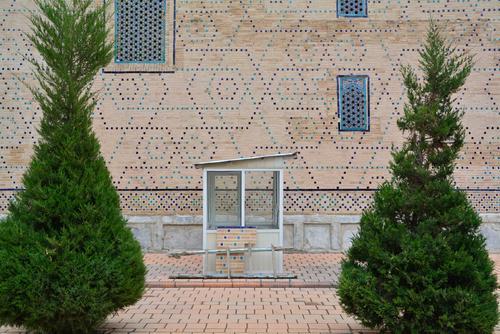 Usbekisches Kassenhäuschen Usbekistan Samarkand Registan Pförtner Kassenhaus Mosaik Strukturen & Formen Bäumchen aufgeräumt Ordnung ticketschalter