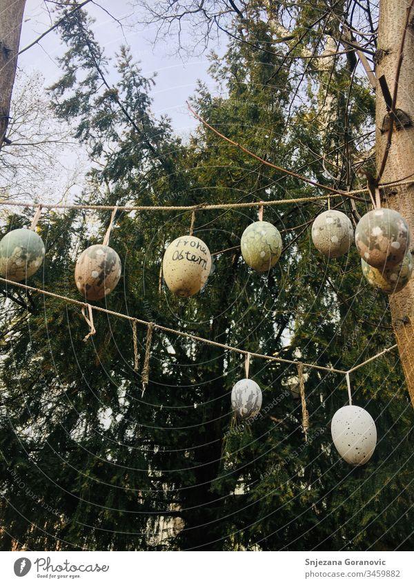 Osterneier Frohe Ostern Eierkette ostern Deko Natur Frühling Osterei