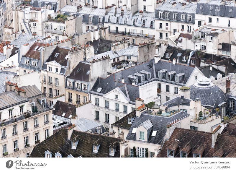 Dächer der Stadt Paris Frankreich gotisch Architektur Kunst Boulevard Gebäude Leinwand Kirche Großstadt Stadtbild Zusammensetzung Darstellung Europa Haus