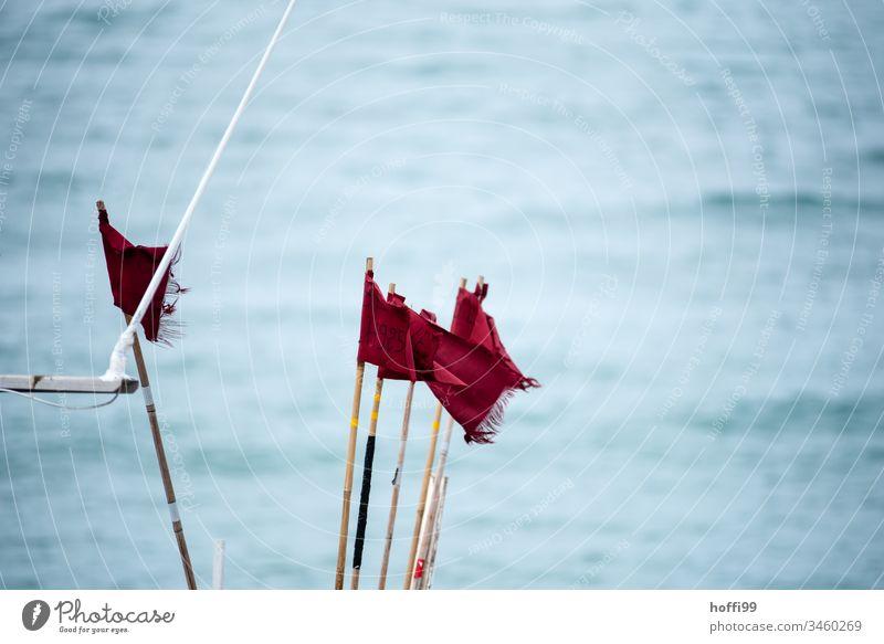 rote Fahnen im Wind auf Fischerboot Rote Fahne Fahnenmast maritim wild windig Meer auf see wehen Himmel flattern blau Sommer