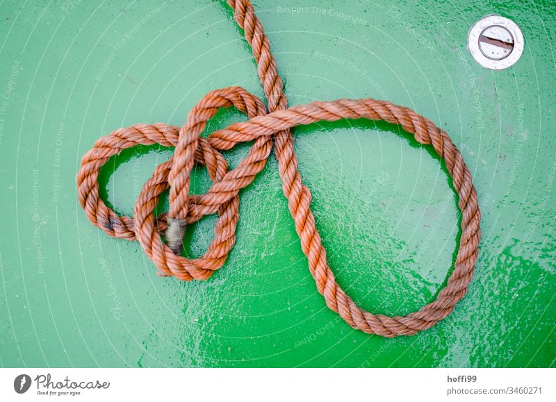 Seil auf grünem Grund Tau Schlinge Fähre Boot Bootsdeck festmachen maritim Schifffahrt Wasser Nahaufnahme Fischerboot Hafen Wasserfahrzeug Jachthafen
