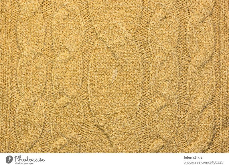Gelbes Strickpullover-Muster Bekleidung Pullover Stoff Herbst Material Sehne Wollstoff Wolle texturiert Handwerk gestreift Struktur handgefertigt Textur Raster