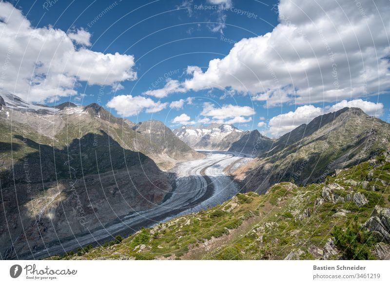 Aletschgletscher, der größte Gletscher in den Alpen Menschenleer Landschaft Außenaufnahme Farbfoto Interlaken einzigartig Freiheit kalt Jungfraujoch