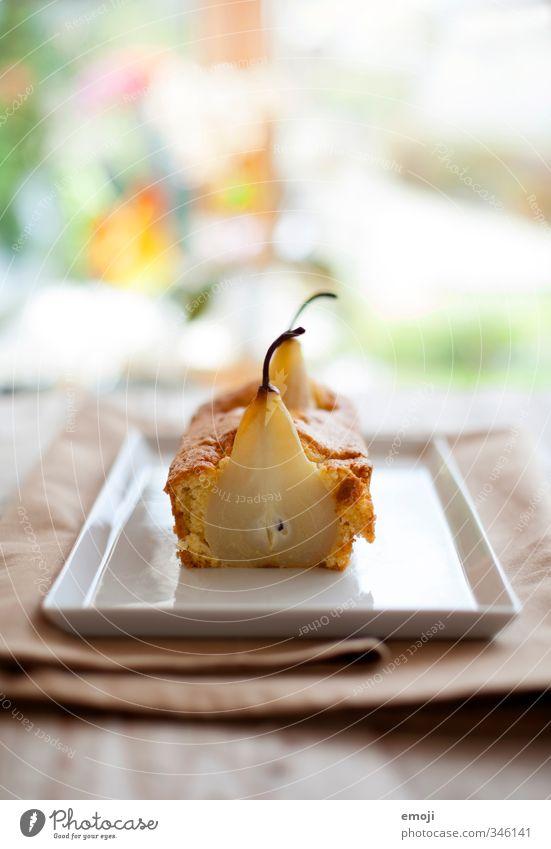 Birne Frucht Ernährung Foodfotografie süß Süßwaren lecker Kuchen Teller Dessert Birne
