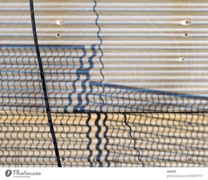 Onduliert Wellasbest Hütte Wand Fassade Zaun Gitter Gitterzaun Schatten Schattenwurf Wellen gewellt Kabel Strukturen & Formen Detailaufnahme Gebäude abstrakt