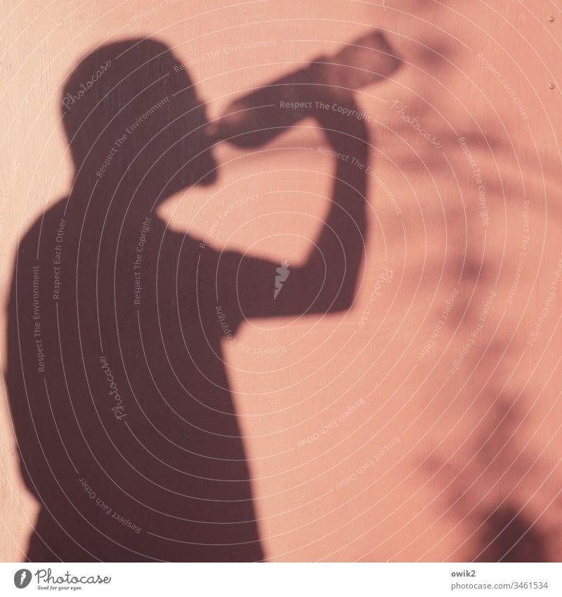 Suffkopp Schatten Mensch Selbstporträt durstig trinken Flasche Wasser Sommer heiß Wand Holz Farbe rötlich Silhouette Arm Kopf Erfrischung Getränk