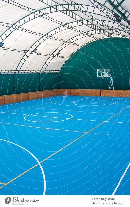 Spielplatz Stadion Basketball Fitnessstudio spielen im Innenbereich Sport Gegend Linie Feld Stock kreisen Gericht Korb Farbe