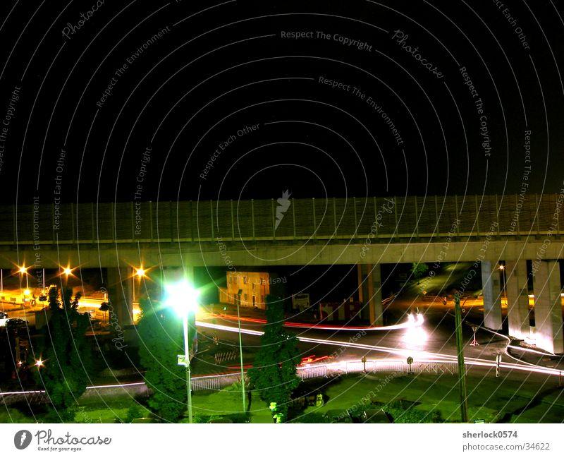 Citylights Nacht Rücklicht Baum Lampe Langzeitbelichtung PKW Angelköder Brücke