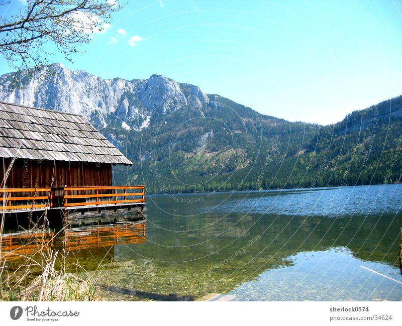 Idylle Baum Sonne Schnee Berge u. Gebirge See Küste Idylle Hütte
