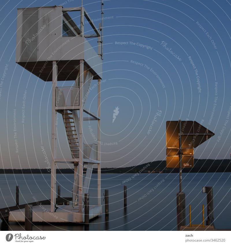 Langzeitbelichtung am See Morgendämmerung Abend Dämmerung Sonnenaufgang Wolken Wasser blau Friedrichshagen Außenaufnahme Berlin Natur Köpenick Seeufer Müggelsee