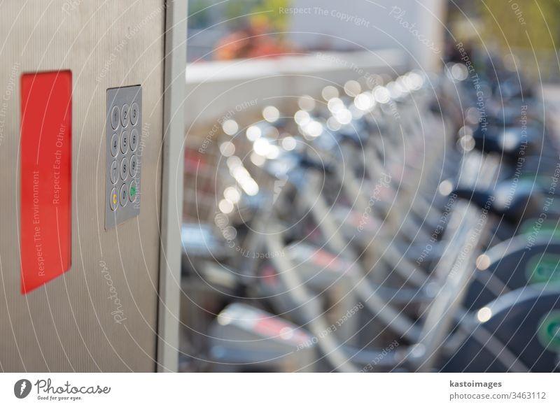 Station der städtischen Fahrradvermietung citibike Wähltastatur Keyboard urban Öffentlich Miete Großstadt Transport Verkehr Umwelt Reihe Lifestyle Zyklus mieten