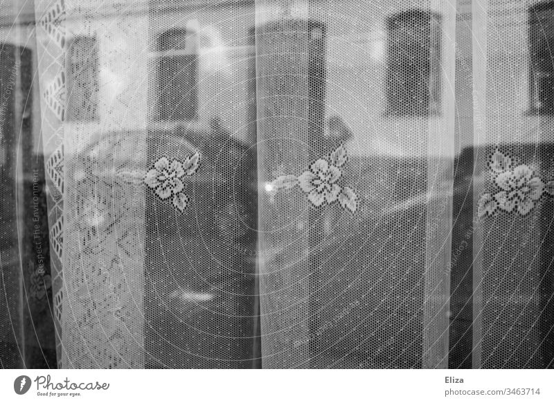 Blick von drinnen aus dem Zuhause aus dem Fenster durch Gardinen oder Vorhänge nach draußen auf die Straße Zuahuse aus dem fenster schauen Fensterblick