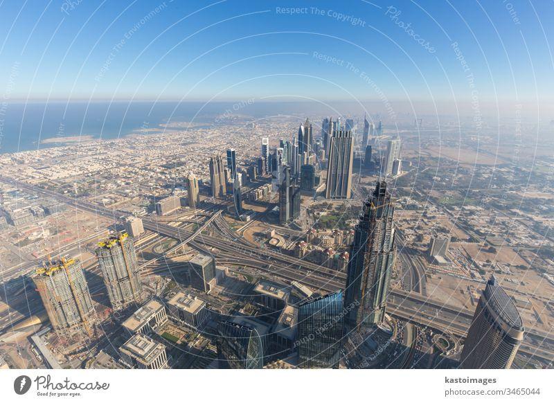 Luftaufnahme des Stadtzentrums von Dubai vom Burj Khalifa, Dubai, Vereinigte Arabische Emirate. Ansicht arabisch Architektur Business Großstadt Stadtbild