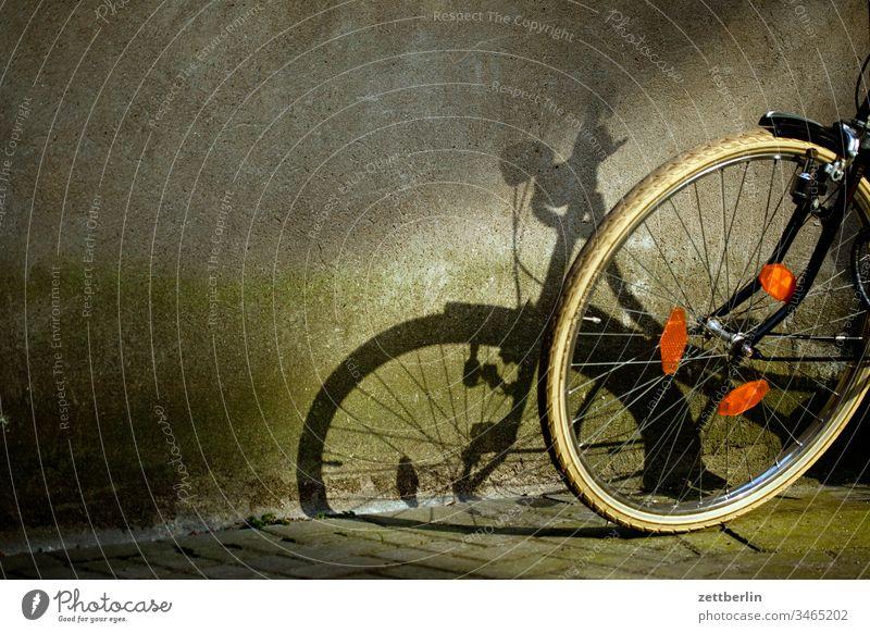 Schatten vom Fahrrad abgestellt abstellplatz fahrrad hinterhof licht schatten vorderrad sonne verkehrsmittel sport warten parkplatz fahrradständer reifen