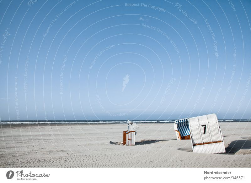 Eingeschnappt Ferien & Urlaub & Reisen blau weiß Sommer Sonne Meer Erholung ruhig Strand Horizont Tourismus Schönes Wetter Ziffern & Zahlen Lebensfreude