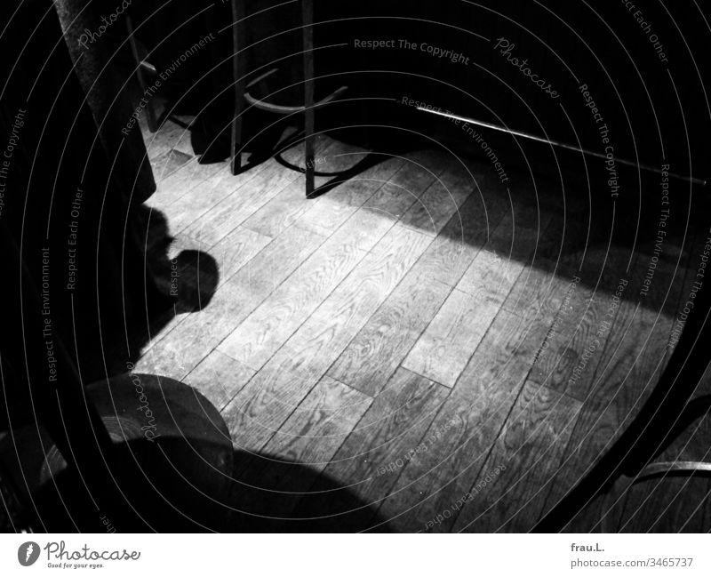 In einer öden Kneipe warten vereinsamte Barhocker und der Schatten einer Stiefelspitze auf bessere Zeiten. Gastronomie Licht Nachtleben Fußboden Holz