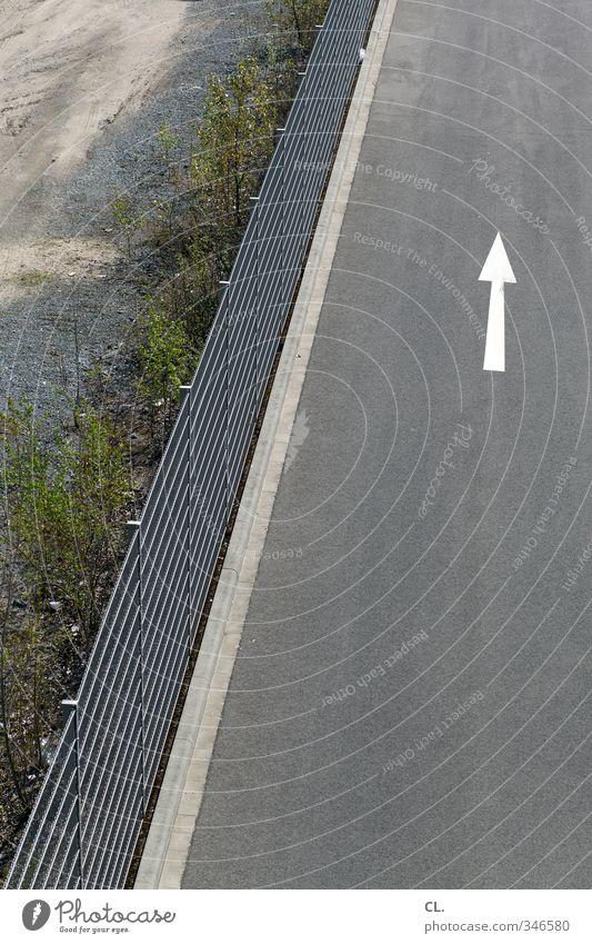 pfeilgerade Stadt Straße Wege & Pfade grau Verkehr Ordnung Platz trist Perspektive Sträucher Beginn Sicherheit Baustelle Zeichen Schutz Pfeil