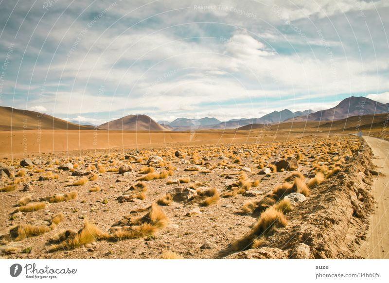 Trockenheit | Atacama Sommer Umwelt Natur Landschaft Urelemente Erde Sand Luft Himmel Horizont Klima Wetter Schönes Wetter Hügel Berge u. Gebirge Wüste Straße
