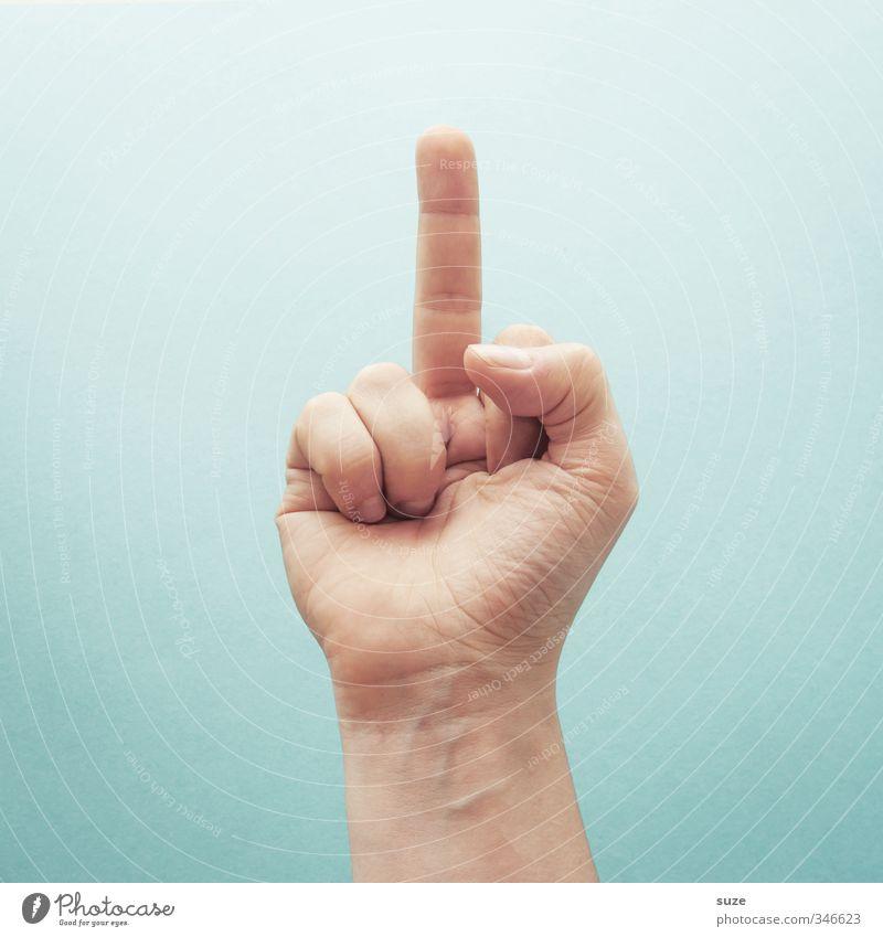 ... der Vollständigkeit halber ;) Hand hell Haut Arme Kommunizieren Finger Coolness einfach Zeichen Europäer Wut Gewalt Hinweis Aggression gestikulieren hell-blau