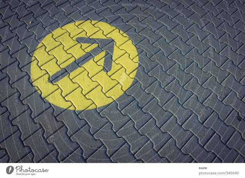 Sonnenfleck Stil Design Verkehr Straßenverkehr Wege & Pfade Zeichen Schilder & Markierungen Pfeil eckig einfach oben positiv rund gelb grau Toleranz Richtung