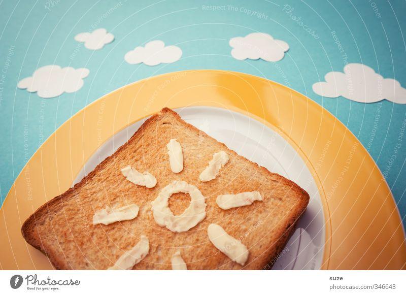 Sommer-Toast Lebensmittel Ernährung Frühstück Picknick Bioprodukte Vegetarische Ernährung Teller Stil Design schön Gesundheit Gesunde Ernährung Sonne Himmel