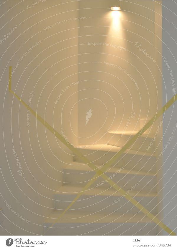 Nach oben ruhig Haus gelb Wand Architektur Innenarchitektur Mauer Stil Lampe Angst Wohnung gold Treppe elegant Design Häusliches Leben