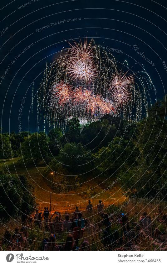 Ein großartiges, farbenfrohes Feuerwerk mit Menschen, die Spaß haben, im Vordergrund. Park Raketen Glück Party Stadtfest Himmel Nacht Langzeitbelichtung Farben