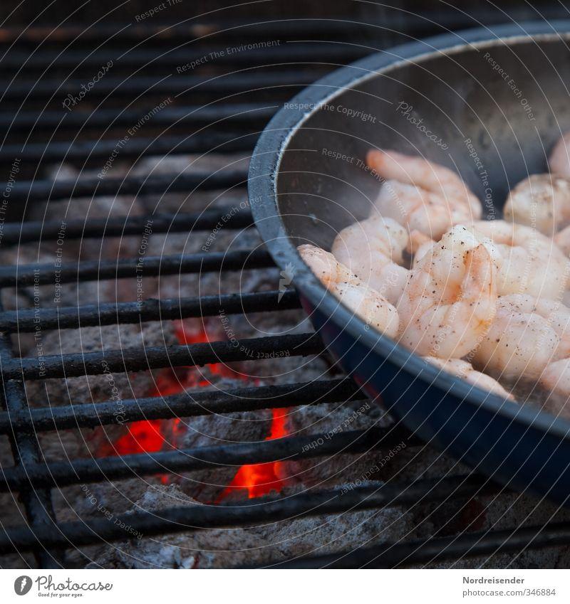Seafood Lebensmittel Meeresfrüchte Ernährung Asiatische Küche Pfanne Camping Gastfreundschaft rein Garnelen Grillen Grillrost Grillkohle Grillsaison Holzkohle