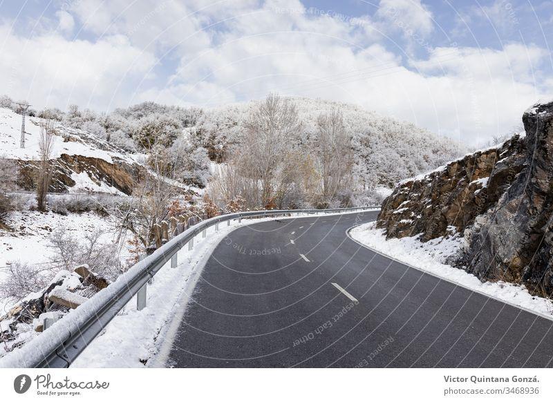 gekrümmte Straße in verschneiter Landschaft kalt Laufwerk Europa Nebel Frost frostig gefroren Anleitung Eis Fahrspur Berge u. Gebirge Natur palencia Route