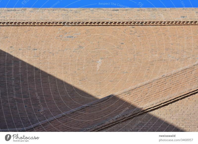 Schatten der Rampart-Linie auf der Mauer - Jiayu-Guan-Pass-Festung - Jiayuguan-Gansu-China-0760 Licht & Schatten Schattenspiel Silhouette Schattengraphie
