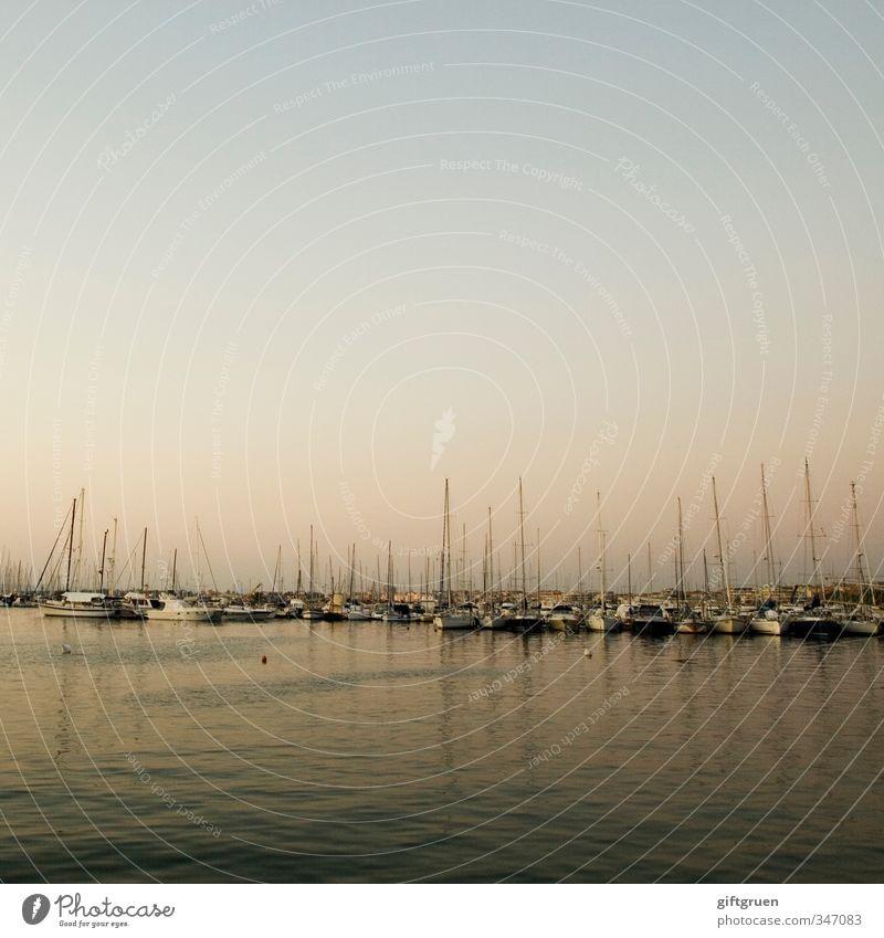 mastenwald Urelemente Wasser Sonnenaufgang Sonnenuntergang Küste Meer Stimmung Lebensfreude ruhig stagnierend Hafen Jachthafen Segelboot Segeln ankern Abend