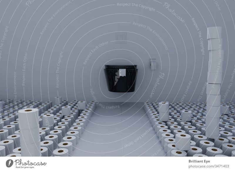 Toilettenraum voll mit Toilettenpapier. Konzept Hamsterkäufe konzeptionell viele Vorrat wc Wirtschaftskrise kaufen Toilettenpapierrolle Corona-Virus Bad sanitär