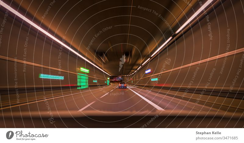 Tunnel Auto Bewegung verschwimmen Nacht Verkehr schnell Hintergrund Business PKW abstrakt Muster Technik & Technologie Kunst Fahrzeug Transport Unschärfe