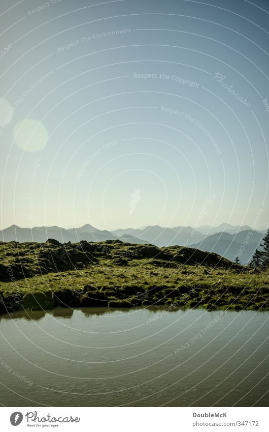 Alpenidyll #1 Himmel Natur Wasser Einsamkeit Landschaft Erholung ruhig Ferne Wiese Berge u. Gebirge Freiheit See Freizeit & Hobby Idylle Zufriedenheit