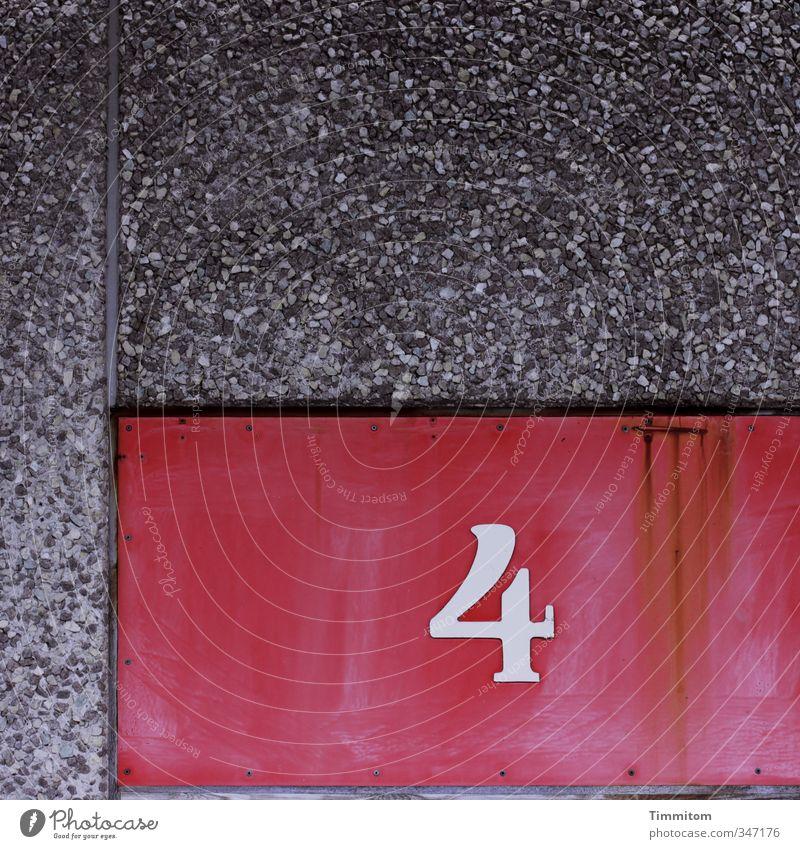 Fast 10. Dänemark Gebäude Mauer Wand Fassade Beton Metall Ziffern & Zahlen einfach grau rot weiß Ordnung Klarheit 4 Farbfoto Außenaufnahme Menschenleer