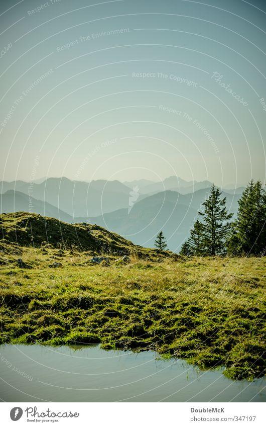 Alpenidyll #2 Ferne Freiheit Berge u. Gebirge Natur Landschaft Wasser Himmel Wolkenloser Himmel Schönes Wetter Baum Wiese Gipfel See ruhig Einsamkeit Erholung