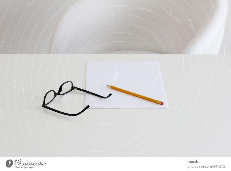 kreative Pause Stil Freizeit & Hobby Häusliches Leben Wohnung Bildung Wissenschaften Arbeit & Erwerbstätigkeit Beruf Kunst weiß Brille Papier Schreibstift