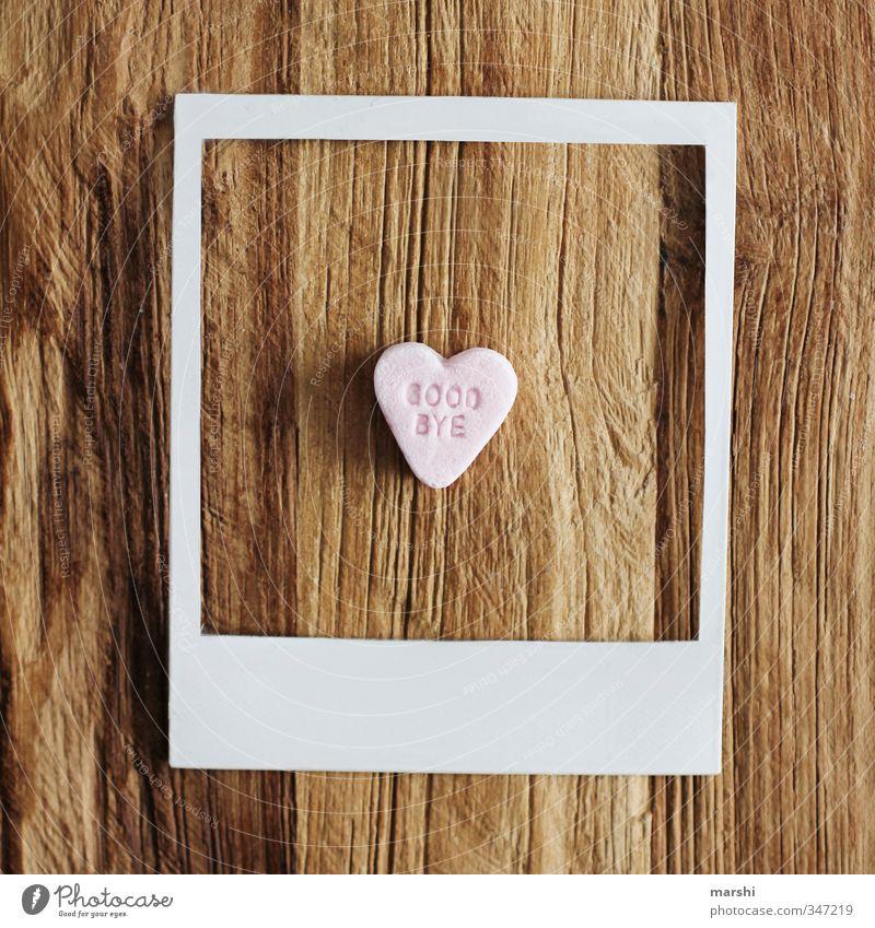 time to say... Stil Freizeit & Hobby Wohnung Kunst süß Fotografie Polaroid Herz Abschied herzlich Süßwaren Symbole & Metaphern Rahmen Holz Holztisch Holzbrett