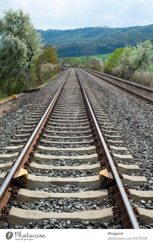 Schienen Verkehrswege Zug Eisenbahn Gleise Wege & Pfade gerade Schienenverkehr Verkehrswende Verkehrsnetz Zeitplan Suizid