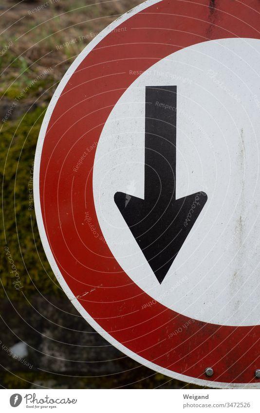 Pfeil Schilder & Markierungen heruntergehen abwärts schwarz