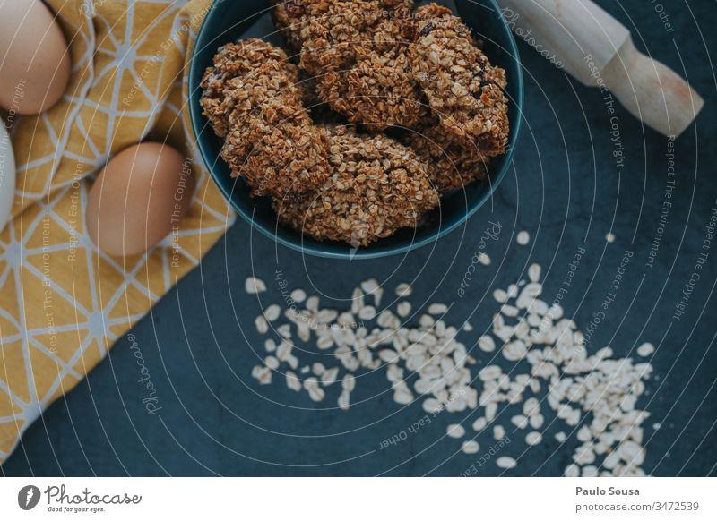Haferplätzchen-Hintergrund Keks Weizen Korn Farbfoto Tag Ernährung Lebensmittel Ei Essen zubereiten backen Backwaren Küche frisch gebastelt Vorbereitung Mehl
