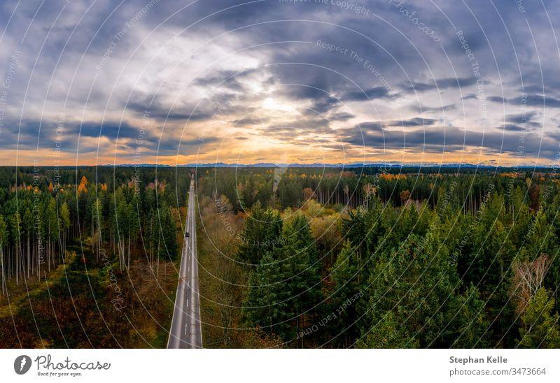 Luftaufnahme der Straße zwischen Wald und Bäumen. Sonnenuntergangsfeld in Süddeutschland in der Nähe der Alpen. Sonnenaufgang Baum Herbst Antenne